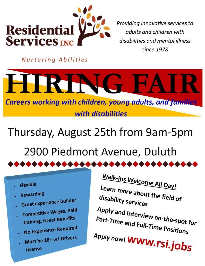 duluth hiring fair on august 25th